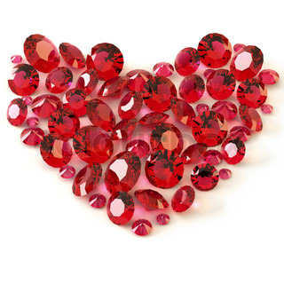 Heart of rubies on white background