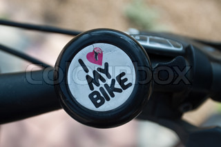 Bell with text I love my bike, and broken heart.Do you love your bike?