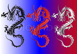 black red and silver dragons vector illustration