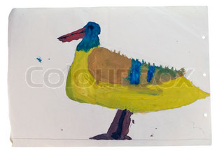 Drawing of a duck water color paints of the five years' child. Isolated on white with patch