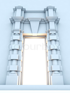 A 3D illustration of classical portal with light inside.