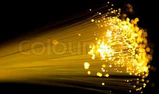 yellow fiber optics cable close up shot