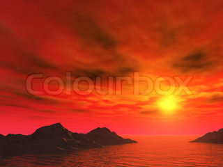 Red sunset. The fantastic sky above sea coast