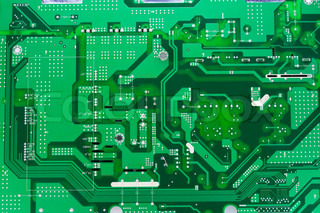 Printed circuit green  electronic  board background. Mass production