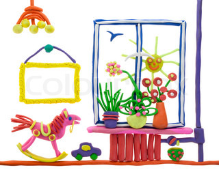 Children's collage  from plasticine- window, flowers, toys. Isolated on white