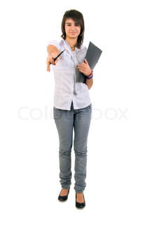 Cute Office Girl With Documents. Studio Shoot Over White Background.