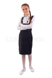 Cute Young Schoolgirl. Isolated On White Background.