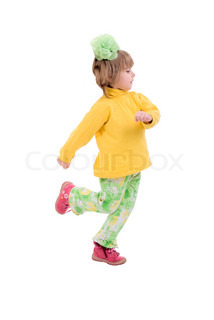 Running Child Girl. Side View. Isolated On White Background.