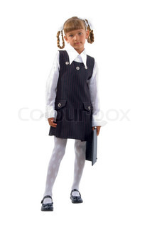 Schoolgirl With Laptop. Isolated On White Background.