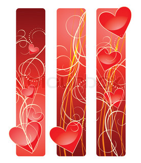 Vector illustration of banners contains hearts and wavy lines.