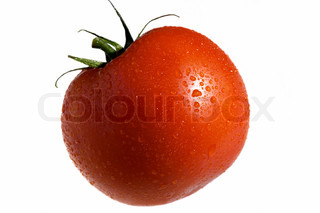 red tomato vegetable in water drops isolated on white