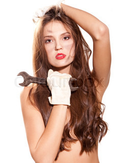 young beautiful naked woman with wrench at white background
