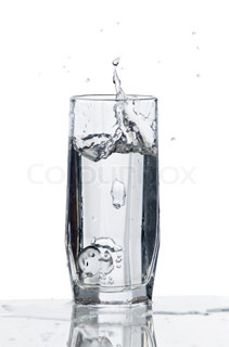 glass of water with Splash isolated on white