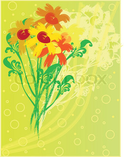 eps10 floral background with fantasy hand drawn flowers