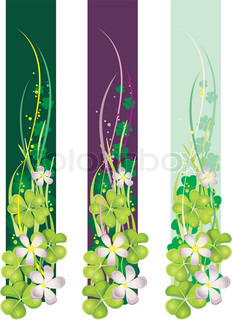 Vertical Spring Banner with blooming clovers