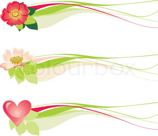 Floral decorative design with hearts