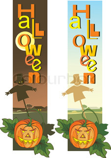 Scary Halloween vertical banners with pumpkins and scarecrow.