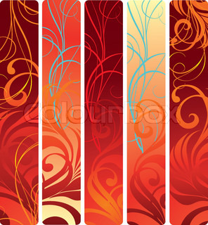 Set of red abstract wave vertical banners.