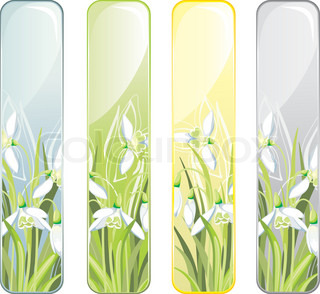 Vertical Banner with spring flower
