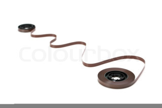 twisted magnetic tape isolated on white background