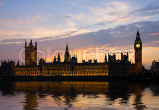 House of parliament and Big Ben at sunset time