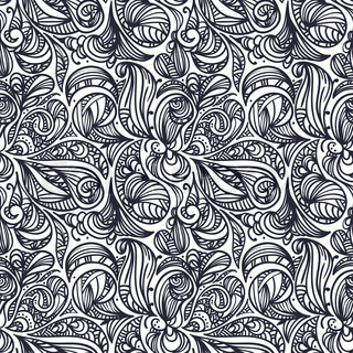 vector seamless floral monochrome abstract pattern, clipping masks