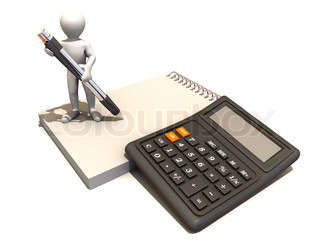 Men with calculator and notebook. 3d