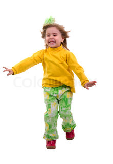 Running Child Girl. Isolated On White Background.
