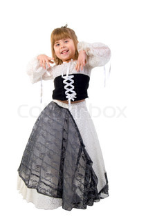 Beautiful Little Girl In A Fairy Costume. Studio Shoot Over White Background.
