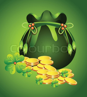 Pot with gold to St. Patrick's Day
