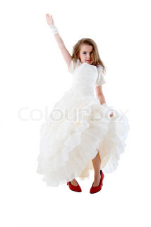 Little Girl Bride In Big Red Shoes. Isolated On White Background