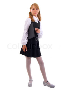Young Schoolgirl With A Folder. Isolated On White Background.