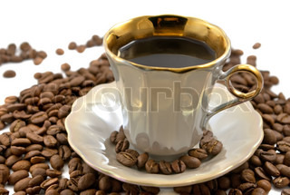 Cup of coffee with beans on the white background
