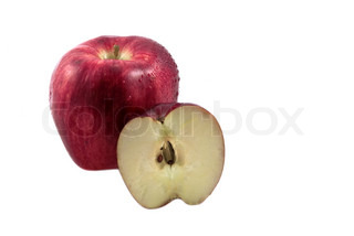 Fresh apple and part isolated on the white
