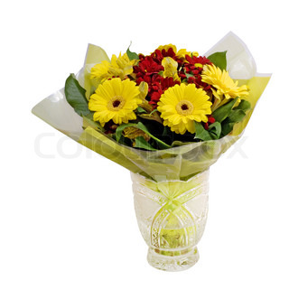 Crystal vase with a beautiful bunch of flowers