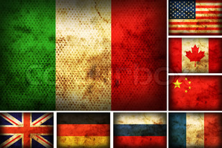 Set of flags of the different countries on the old burnt material
