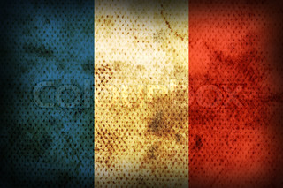 Flag of France. Weathered burned material