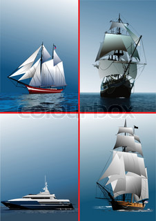 Four old sailing vessels. Vector illustration