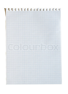 Torn squared sheet of paper, isolated on white