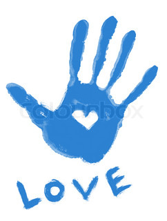 blue handprint with love symbol and ''love'' word