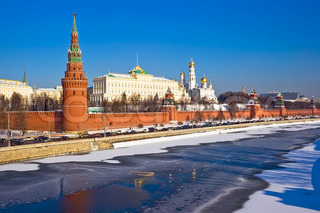 The view of Moscow Kremlin from the bridge over Moskva river