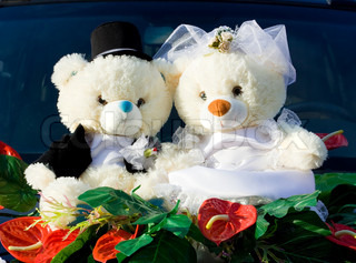Two beauty teddy bears, of bride and groom, wedding concept.