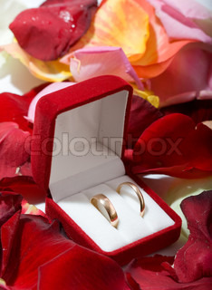 Two wedding rings in the box, with lots of flowers on background.