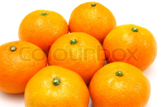 Group a tangerine lie it is isolated on a white background