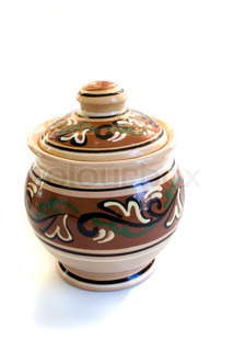 ceramic pottery for cooking against white background