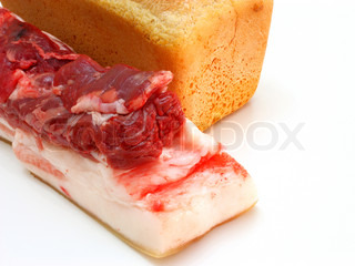 bread and the big piece of meat on a white background