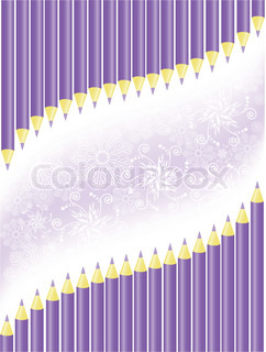 asymmetric background of purple pencils and snowflakes