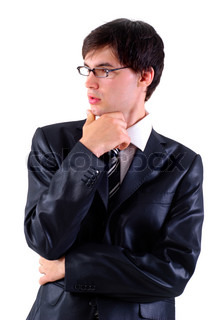 Business man in glasses are thinking, isolated on white