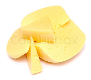 two pieces of cheese isolated on white