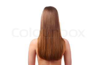 woman with beautiful long hair isolated at white background